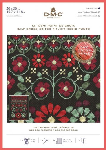 DMC Geometric Flowers Half Cross Stitch Kit with Perle Thread - Red Geo Flowers- BK1784